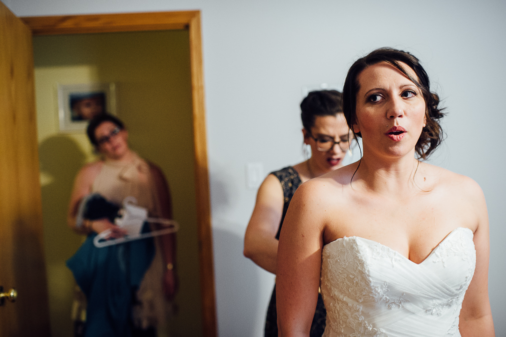 bride taking deep breath