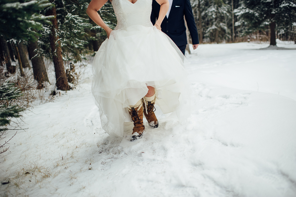 bride in winter boots