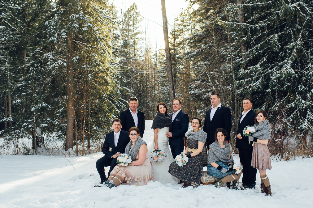 bridal party photo in winter