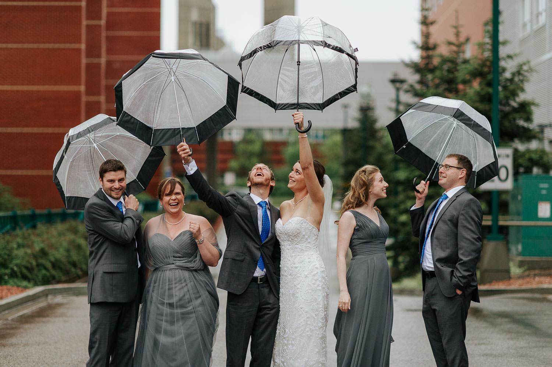 rainy wedding day wedding party