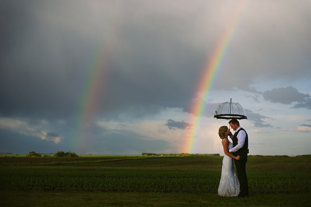 rainbow on a wedding day