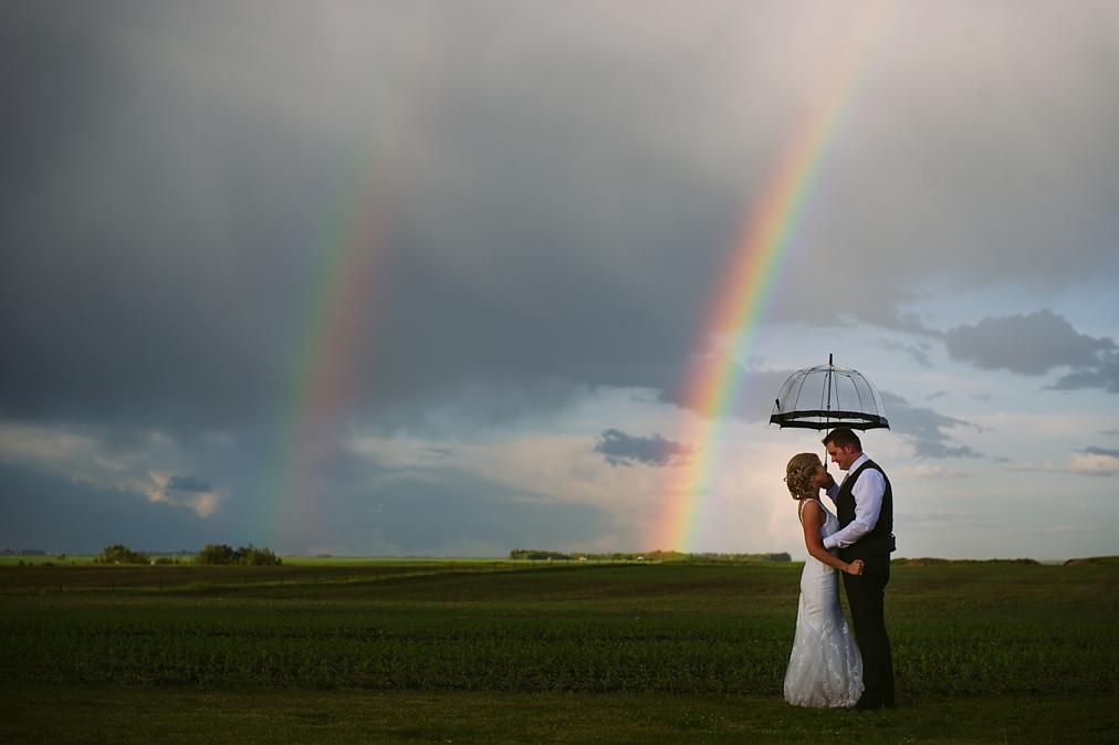 rainbow on a wedding day