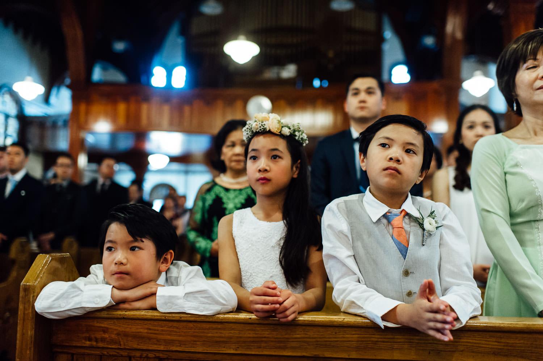 kids at a church wedding