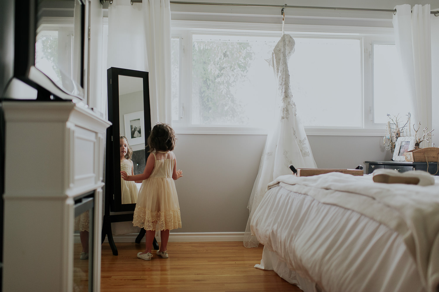 brides daughter and wedding dress