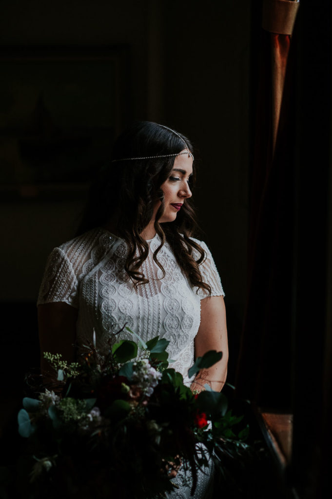 moody bride portrait