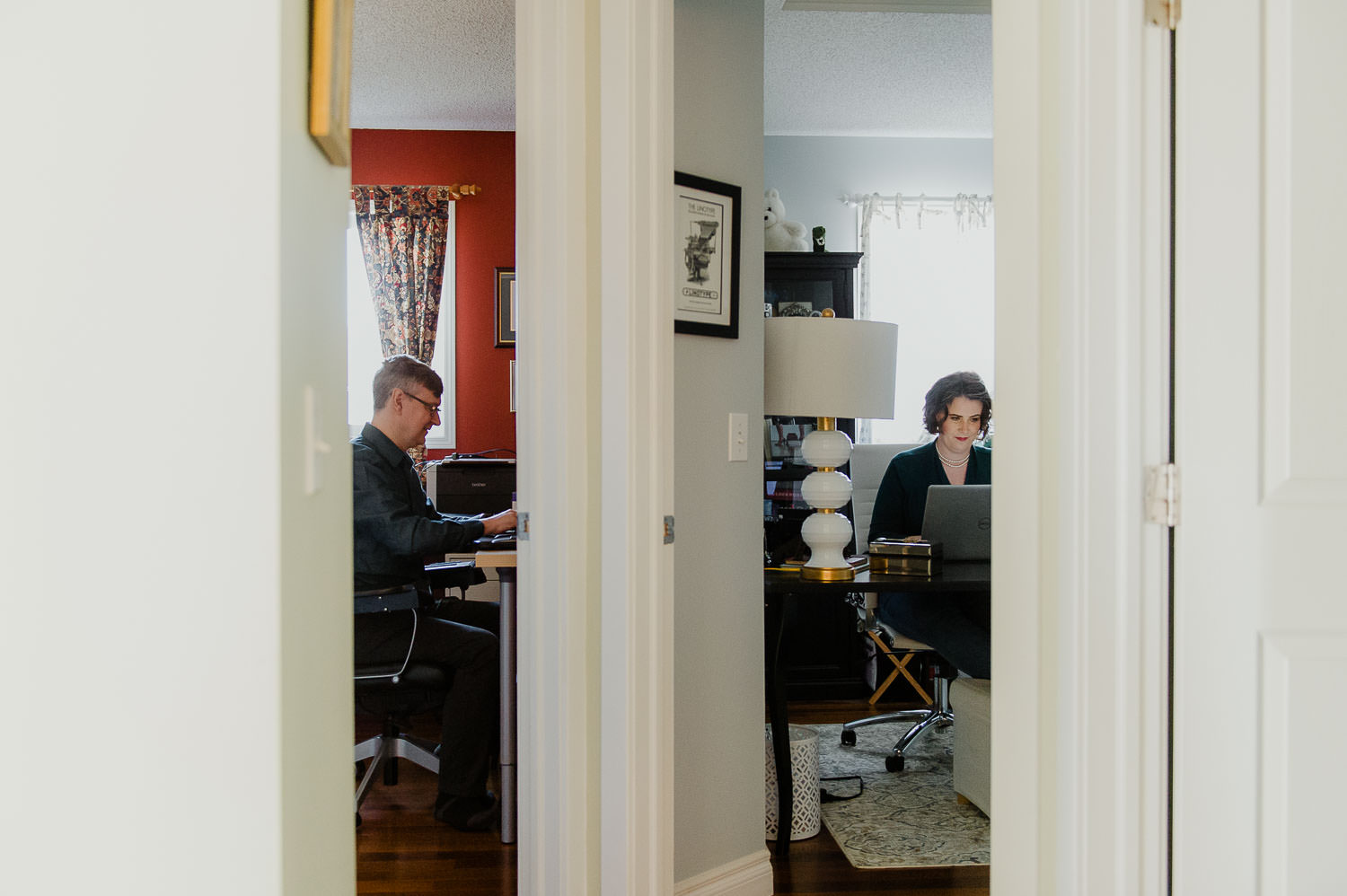 couple working together in home