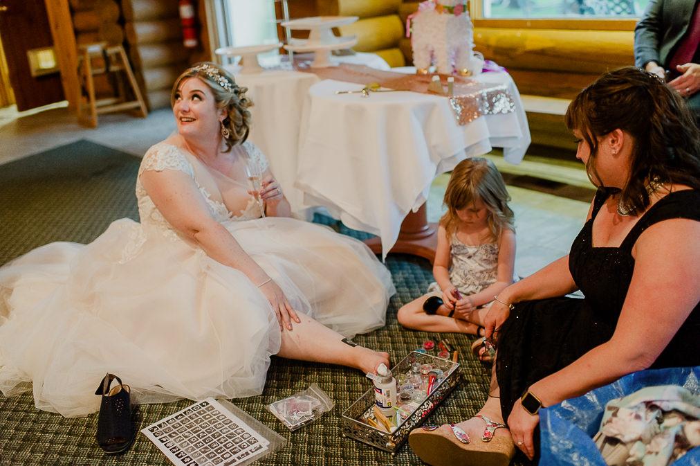 candid bride on wedding day